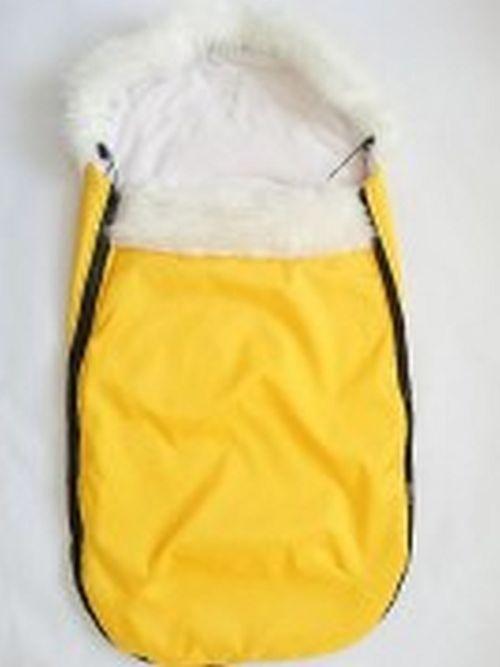 Fusak s kožešinovým lemem- žlutá/černé zipy MeeMee