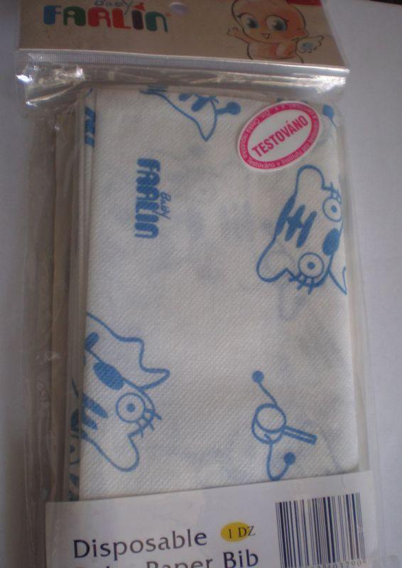 Jednorázové papírové bryndáky 12 ks -modrá FARLIN