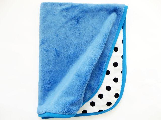 Oboustranná deka 70x90 cm - modrá/ černé puntíky MeeMee