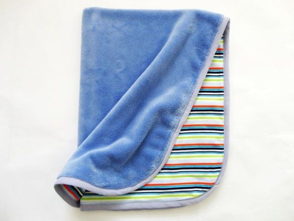 Oboustranná deka 70x90 cm - modrá / pruhy MeeMee