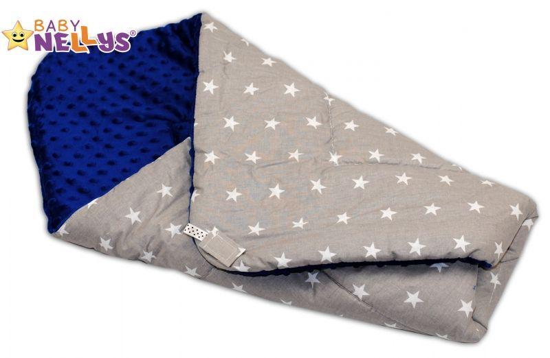 Luxusní zavinovačka MINKY BABY - oboustranná šedé hvězdičky / modrá Baby Nellys