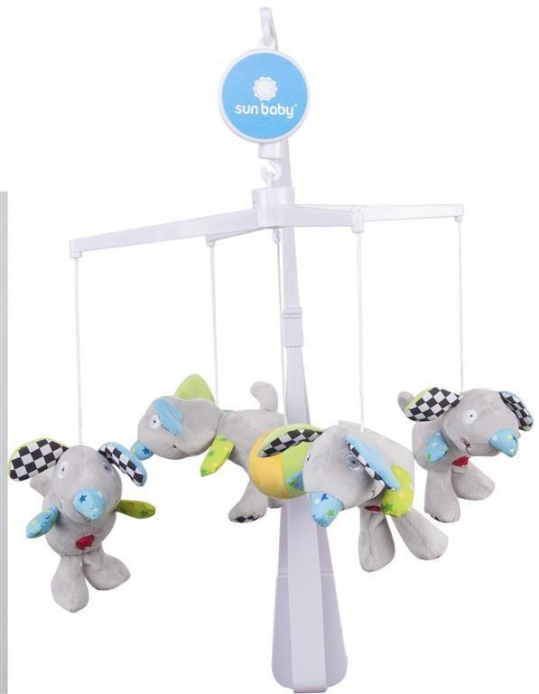 Kolotoč s plyšovými hračkami - myšky šedé Sunbaby