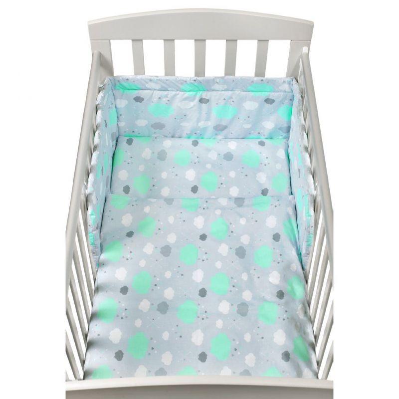 2-dílné ložní povlečení New Baby 90/120 cm obláčky mátové