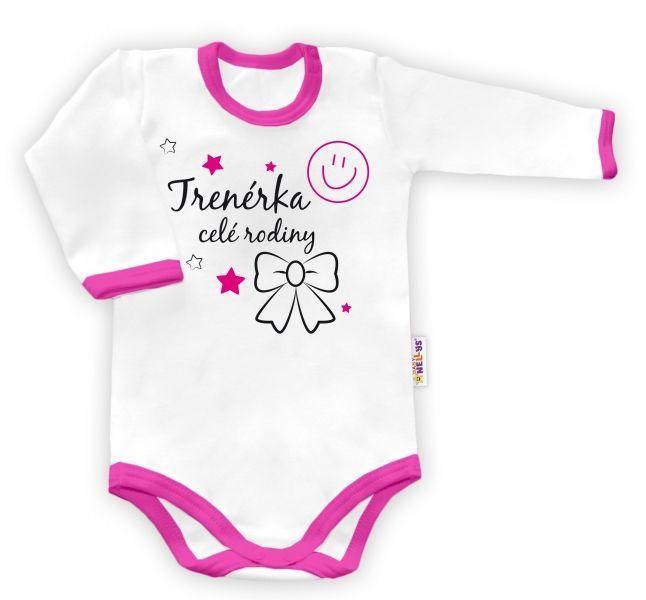 Body dlouhý rukáv vel. 62, Trenérka celé rodiny - bílé/růžový lem Baby Nellys