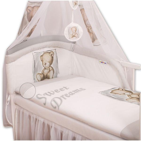 Mantinel s povlečením 135x100 Sweet Dreams by Teddy - šedý Baby Nellys