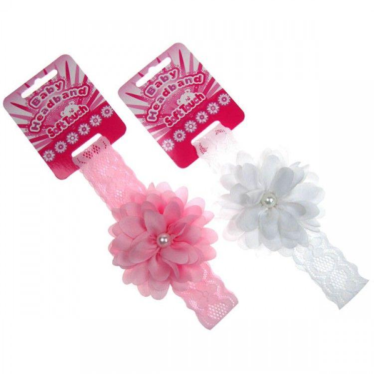 Pružná čelenka s květinkou bílá Soft Touch 936d0d4900