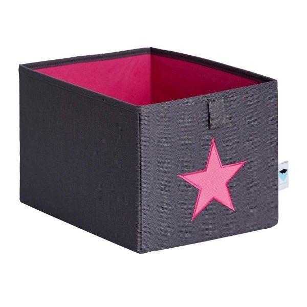 STORE IT Úložný box malý šedá s růžovou hvězdou