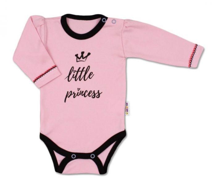 Baby Nellys Body dlouhý rukáv, vel. 56, růžové - Little Princess