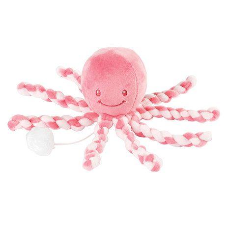 První hračka miminka hrající chobotnička PIU PIU Lapidou pink coral - light pink 0m + Nattou