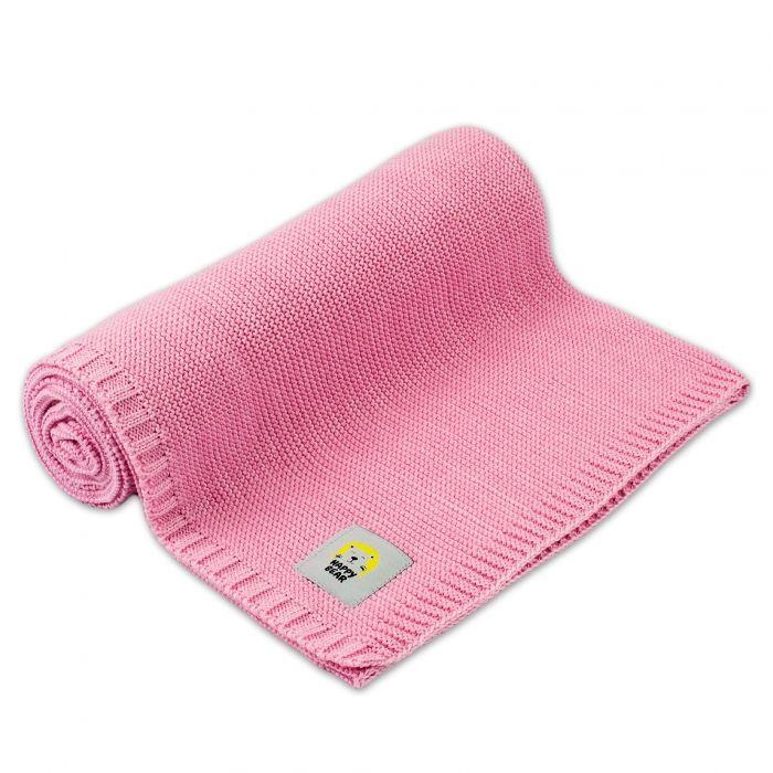 Dětská bambusovo - bavlněná deka, dečka MBaby - Happy Bear, růžová Baby Nellys