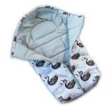 Dětský fusak Baby Nellys ARTIC LUX velvet, 95 x 45 cm - labutě/bílý