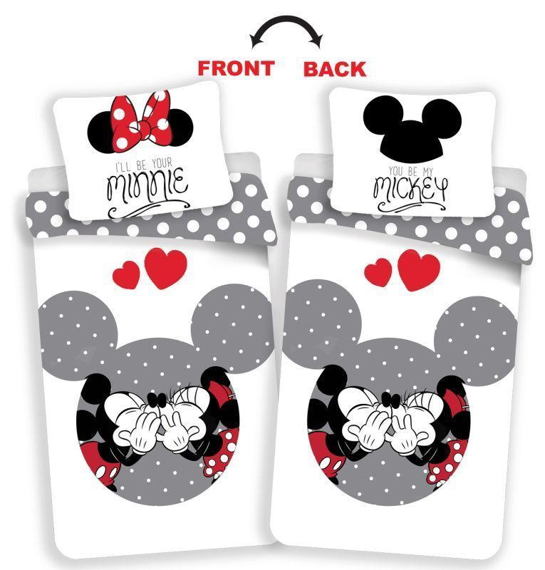 Povlečení Mickey a Minnie love grey 140/200, 70/90 JERRY FABRICS