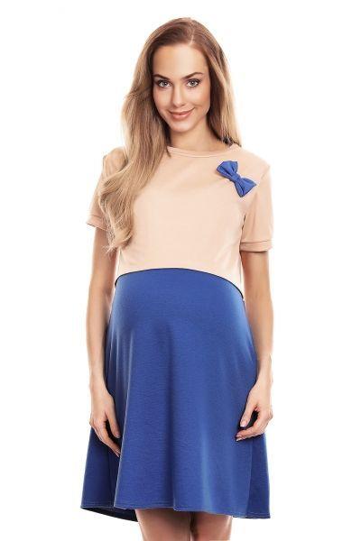 Be MaaMaa Těhotenská, kojící noční košile s mašličkou, kr. rukáv - béžovo/modrá