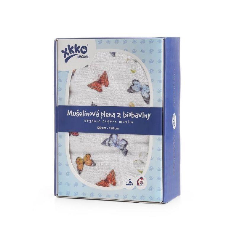 Biobavlněná plena XKKO Organic 120x120 - Butterflies Kikko