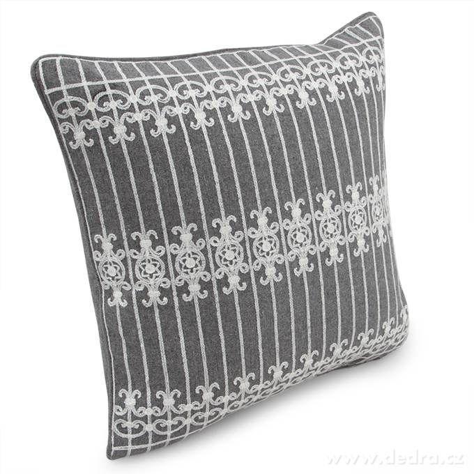 Potah na polštář šedý s ornamentem 45 x 45 cm Dedra