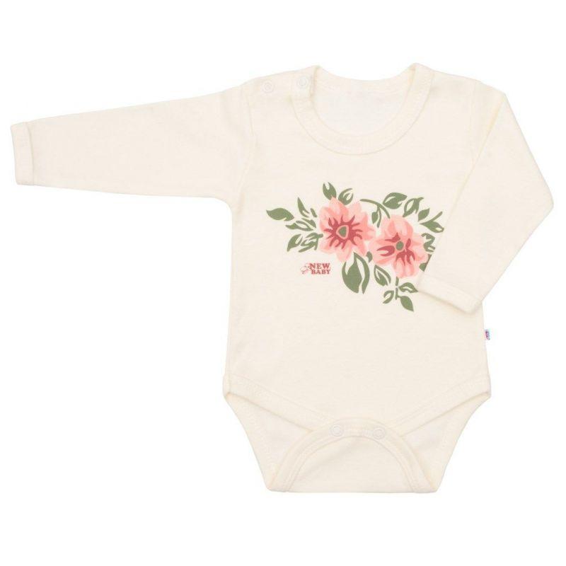 Kojenecké body s dlouhým rukávem New Baby Flowers béžové vel.56