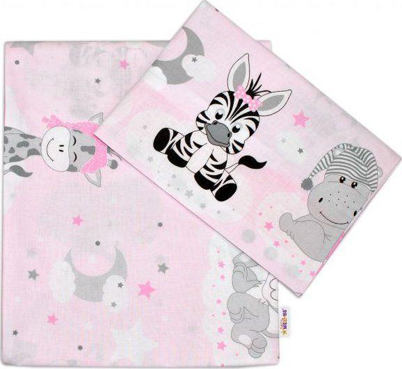 Baby Nellys 2-dílné bavlněné povlečení 135x100, Safari Baby - růžové