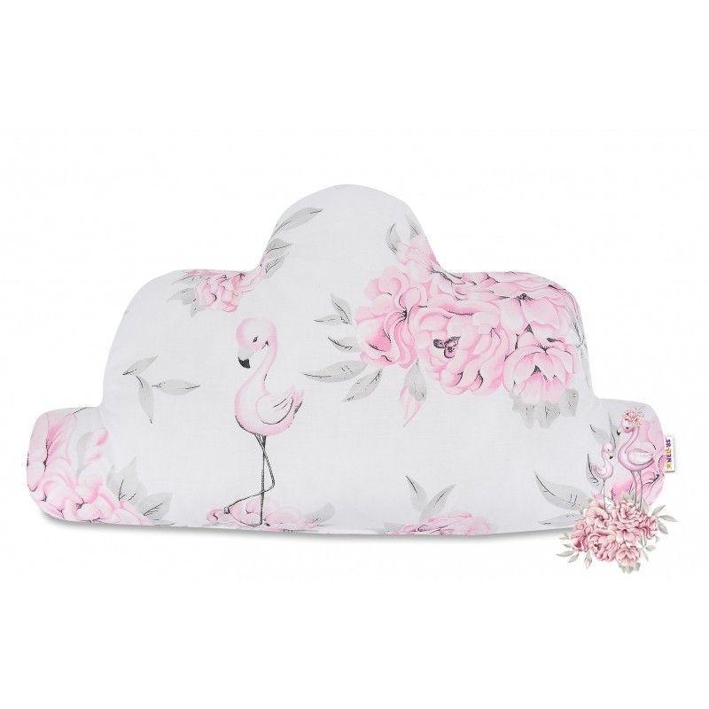 Baby Nellys Bavlněný dětský dekorační polštář, Mráček - Plameňák růžový