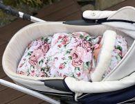 Baby Nellys zavinovací fusak s kožešinkou Velvet, Skřítek, délka 85 cm - bílý/divoké růže ...