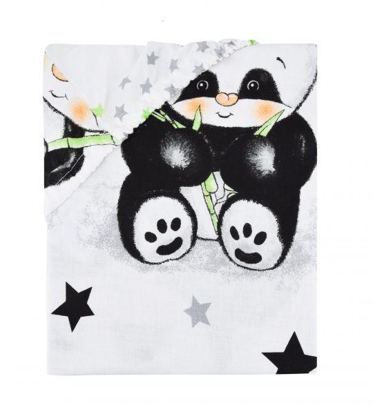 Dětské bavlněné prostěradlo do postýlky - Panda bílá Baby Nellys