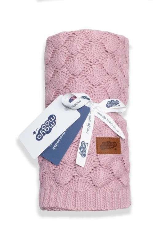 Pletená bavlněná deka do kočárku pudrově růžová 80/100 Detexpol