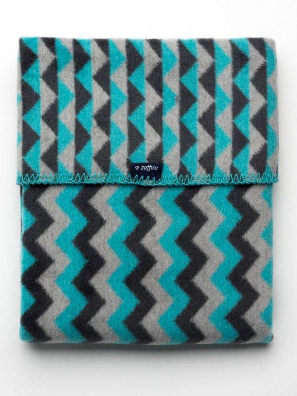 Dětská bavlněná deka se vzorem Cik-Cak Womar 75x100 grafitovo-šedo-tyrkysová