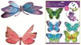 Barevní motýli se stříbrnými glitry, 39x30cm
