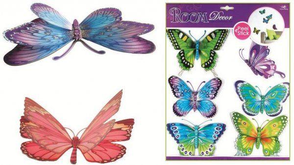 Barevní motýli se stříbrnými glitry, 39x30cm Room Dekor