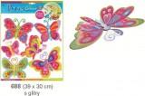 Pestrobarevní motýli se stříbrnými glitry, 39x30cm