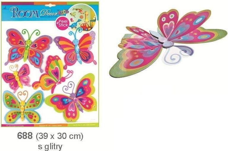 Pestrobarevní motýli se stříbrnými glitry, 39x30cm Room Dekor