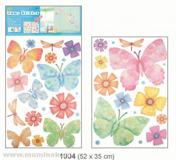 Pokojová dekorace motýli a květy 2 archy > 52x35cm Room Dekor