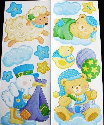 Samolepicí dekorace - S čápem a medvídky Room Dekor