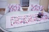 Režný běhoun na stůl - růžičky