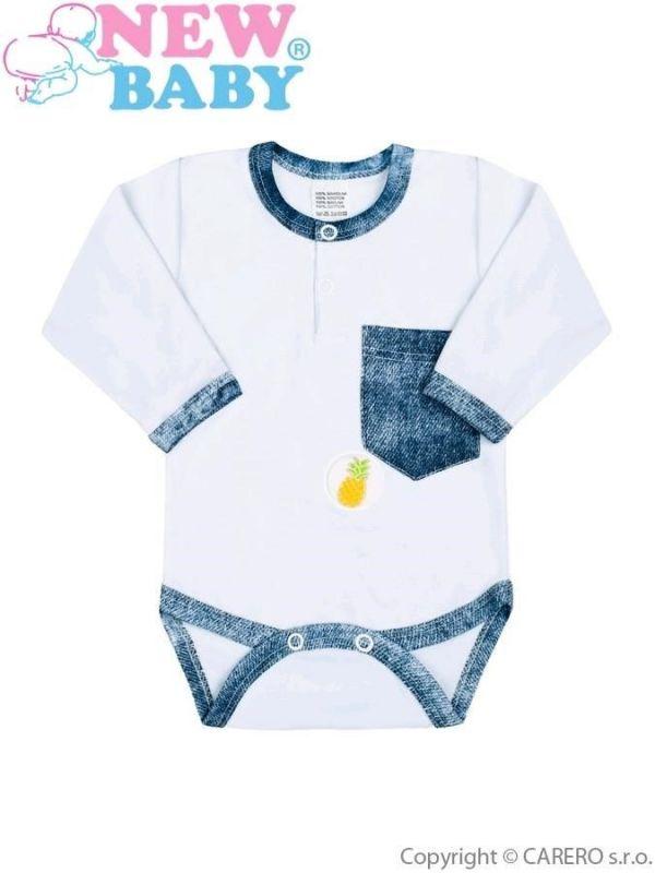 Kojenecké body New Baby Dark Jeansbaby s bílou vel.74