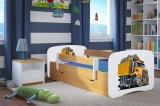 Dětská postel se zábranou a úložným prostorem 180 x 80 - Náklaďák