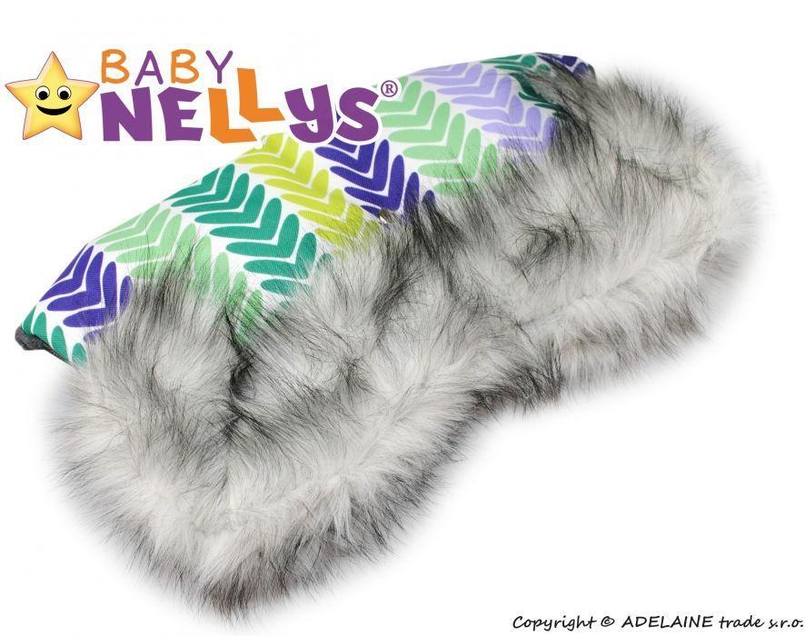 Rukávník ke kočárku s kožešinkou flees LUX - Barevné lístky Baby Nellys ®
